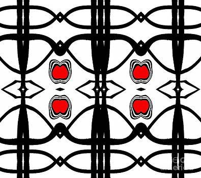 Abstract Geometric Black White Red Pattern Art No.173. by Drinka Mercep
