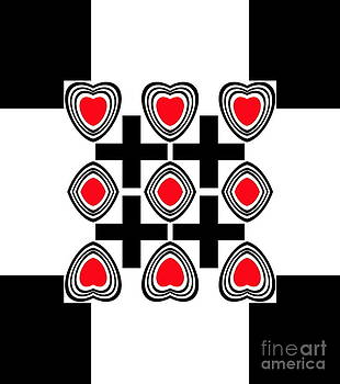 Abstract Geometric Hearts Black White Red Art Print No.195. by Drinka Mercep
