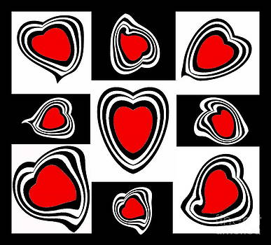 Drinka Mercep - Abstract Hearts Black White Red Art Print No.113.