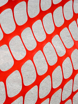 Abstract image of an orange snow fence pattern. by Rob Huntley