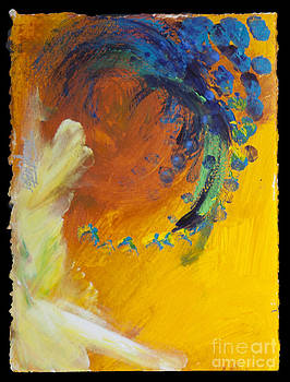 Abstract in Yellow and Blues by Tracy L Teeter