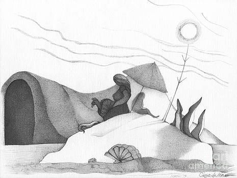 Abstract Landscape Art Black And White Beach Cirque De Mor By Romi by Megan Duncanson