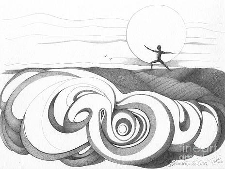 Abstract Landscape Art Black And White Yoga Zen Pose Between The Lines By Romi by Megan Duncanson