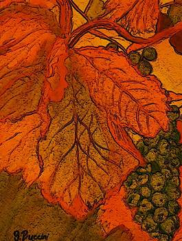 Abstract leaves and grapes by Vickie G Buccini