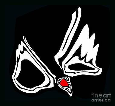 Drinka Mercep - Minimalism Art Black White Red Heart No.34.