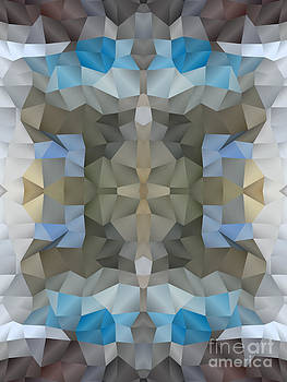 Beverly Claire Kaiya - Abstract Mosaic in Cool Silver Blue Brown