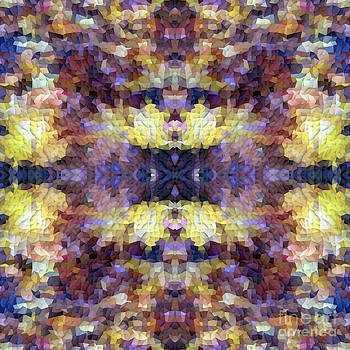 Beverly Claire Kaiya - Abstract Mosaic in Yellow Blue Purple