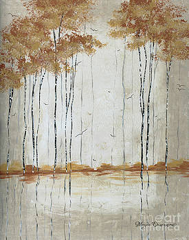 Abstract Neutral Landscape Pond Reflection Painting Mystified Dreams II By Megan Ducanson by Megan Duncanson