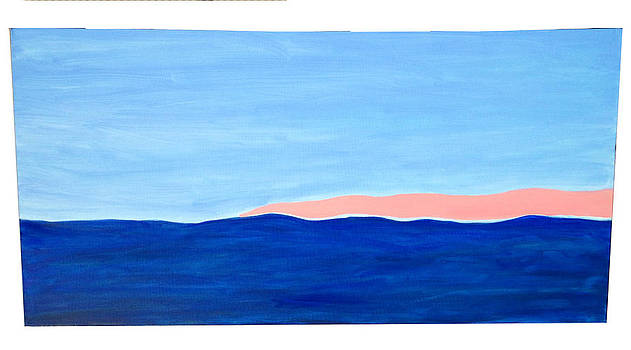 Abstract Ocean Horizon at Sunset by Maria Mills