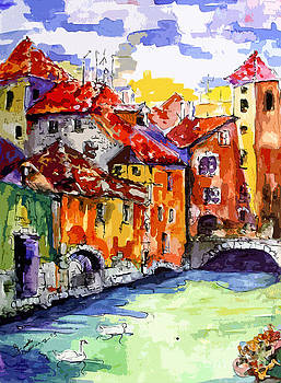 Ginette Callaway - Abstract Old Houses in Annecy France