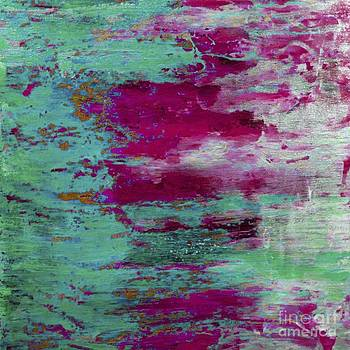 Abstract pink green landscape by Arelys Jimenez