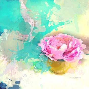 Abstract pink peony 3 by Arelys Jimenez