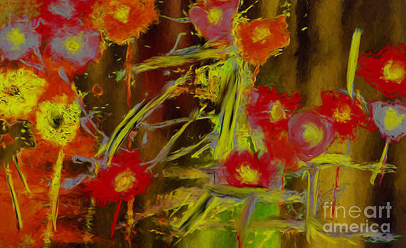 Abstract Poppies Flowers Mixed Media Painting by Heinz G Mielke