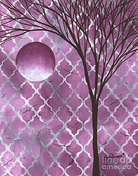 Abstract Purple Pattern Painting Original Landscape Art Moon Tree by Megan Duncanson by Megan Duncanson
