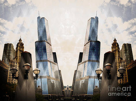 Abstract surreal Chicago Michigan Avenue by Linda Matlow