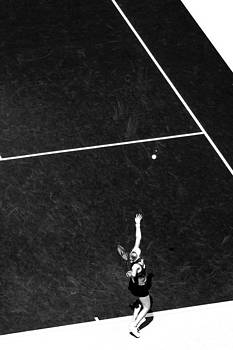 Abstract Tennis Serve Black and White by Mason Resnick