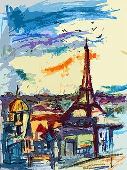 Ginette Callaway - Abstract Under Paris Skies Mixed Media Art