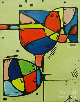 Abstract Wine Glass  by Juan Molina