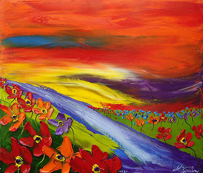 Abstract World Of Wildflowers by Portland Art Creations