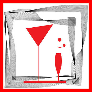 Abstraction wineglass and black red lines by Larisa Karpova