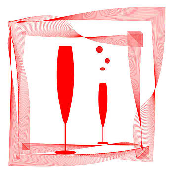 Abstraction wineglass and red lines by Larisa Karpova