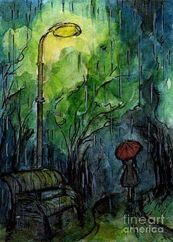 Ac113 Rainy Night In A Park by Kirohan Art