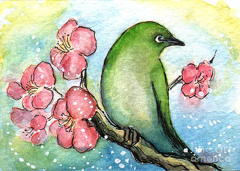 Ac313 Green Bird and Flowers by Kirohan Art