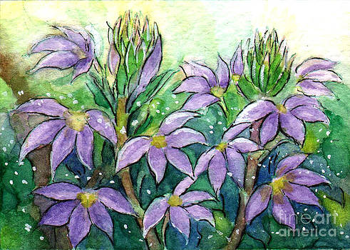Ac332 Purple Flowers by Kirohan Art