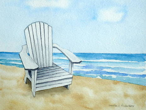 Adirondack Chair at the Beach by Laurie Anderson