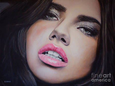 Adriana Lima Oil On Canvas by David Rives