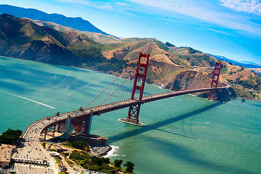 Aerial Golden Gate bridge over San Francisco bay by Laura Palmer