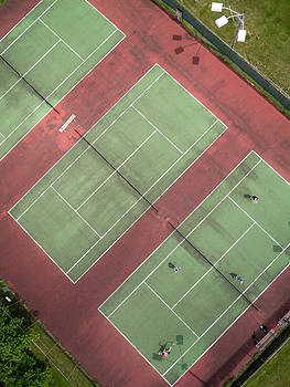 Aerial Straight Down View of Tennis Courts by Rob Huntley