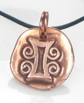 African Adinkra Tamfo Bebre Copper Talisman - Symbol for Jealousy by Vagabond Folk Art - Virginia Vivier