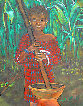 African Girl Cooking by Ken Caffey