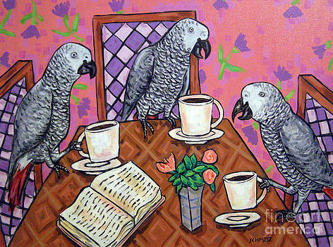 African grey Parrot Friends at the Cafe by Jay  Schmetz