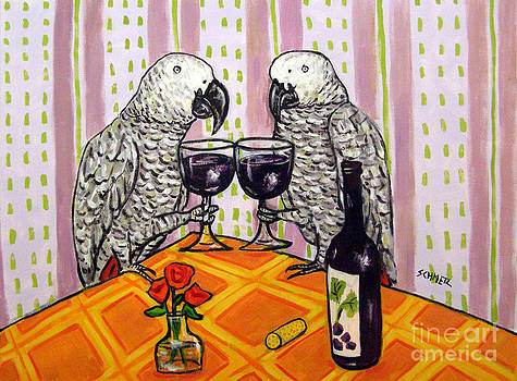 African Grey Parrots Making a Toast by Jay  Schmetz
