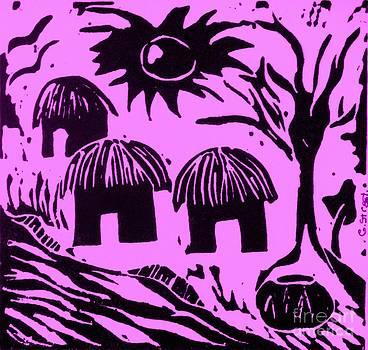 Caroline Street - African Huts Pink