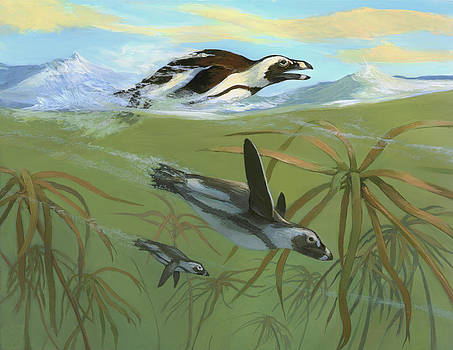 African Penguins by ACE Coinage painting by Michael Rothman