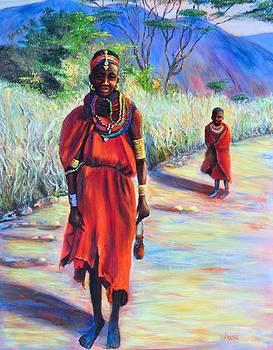 African Woman and boy by JAXINE Cummins