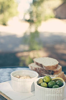 Afternoon Antipasto Wth Olives Pistachio And Bread by Gillian Vann