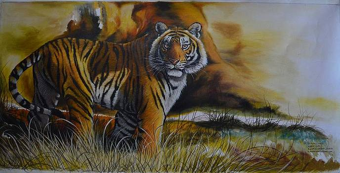 ''Afternoon Oil Study'' by Hukam Chand Wildlife artist