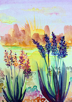 Patricia Lazaro - Agaves at Colorado River Sunset