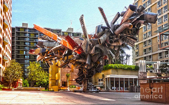 Gregory Dyer - Airplane wreckage sculpture outside Museum of Contemporary Art