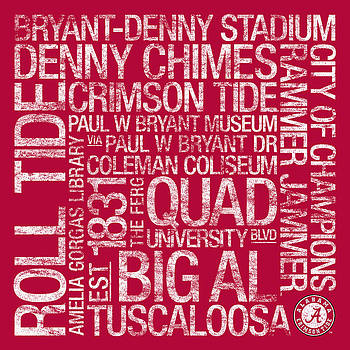 Alabama College Colors Subway Art by Replay Photos