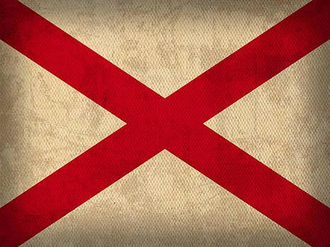 Design Turnpike - Alabama State Flag Art on Worn Canvas