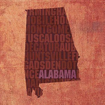 Design Turnpike - Alabama Word Art State Map on Canvas
