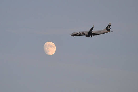 Alaska Airplane Meets the Moon by Kelly Reber