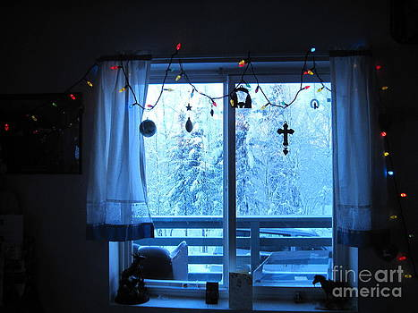 Alaska Christmas Window Decorations And Lights Viewing Sunlit Illuminated Snowy Forest Trees by Elizabeth Stedman