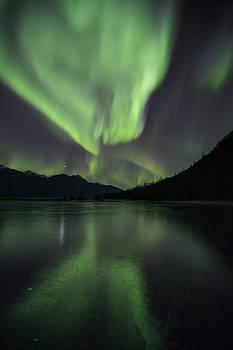 Alaska Northern Lights Reflecting Off Ice by Sam Amato