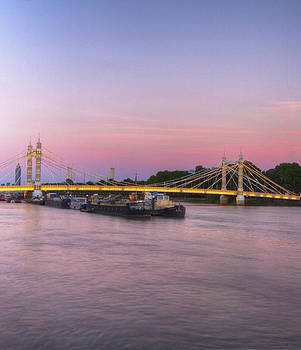 David French - Albert Bridge London Thames at night Dusk